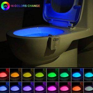 16-color UV Sanitizer Toilette Gadget de lumière de nuit, détecteur de mouvement activé lampe LED, Fun, éclairage de salle de bain Add On Glow Bol Assise W/aromathérapie Désodorisant–Cadeaux fantaisie pour adultes, enfants, enfants d'apprentissage de la image 0 produit