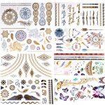 23 tatouages provisoires métalliques (450+ conceptions), tatouages argentés d'or de BRT faux tatouages autocollants imperméables de tatouage d'autocollants de tatouage de la marque BRT image 1 produit