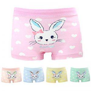 Allmeingeld Filles Lot de 5 Paires Coton et Spandex Imprimé Animal Lapin Boxers Enfants sous-vêtement Taille 1-13ans de la marque Allmeingeld image 0 produit