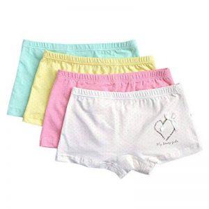 CHIC-CHIC Boxer Slip Lot de 4 Fille Bébé Enfant Culotte Pantalon Sous-Vêtement en Coton Motif Mignon Uni de la marque De feuilles image 0 produit