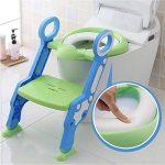 Enfants toilette potty siège de toilette réglable bébé enfant en bas âge, kid entraîneur de toilette avec escabeau tabouret pour les garçons et les filles, toilettes ladder / Entraîneur de toilette bébé avec échelle (vert et bleu) de la marque Alexen image 1 produit