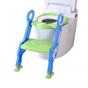 Enfants toilette potty siège de toilette réglable bébé enfant en bas âge, kid entraîneur de toilette avec escabeau tabouret pour les garçons et les filles, toilettes ladder / Entraîneur de toilette bébé avec échelle (vert et bleu) de la marque Alexen image 0 produit