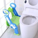 Enfants toilette potty siège de toilette réglable bébé enfant en bas âge, kid entraîneur de toilette avec escabeau tabouret pour les garçons et les filles, toilettes ladder / Entraîneur de toilette bébé avec échelle (vert et bleu) de la marque Alexen image 2 produit