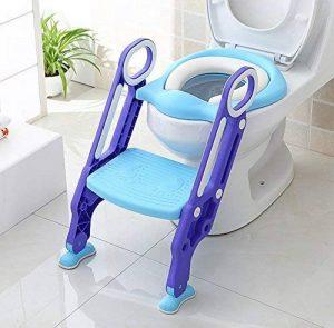 HOMFA Siège de Toilette Enfant Pliable et Réglable, Reducteur de Toilette Bébé avec Marches Larges, Lunette de Toilette Confortable Matériaux de Haute Qualité (Bleu et Violet) de la marque Homfa image 0 produit