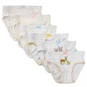 Kidear Culottes d'enfant Confortables en Coton Slip Varié pour Petite Filles sous-vêtements avec Nœud à Deux Boucles de la marque Kidear image 0 produit