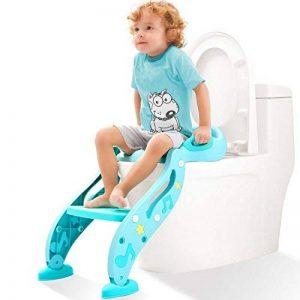 Kidpar Potty Training Siège pour enfants, réglable pour bébé Toilettes Pot Chaise avec solide antidérapant Marchepied Échelle, poignées confortables et protection anti-éclaboussures, facile à monter Abattant de toilettes pour filles et garçons de la marqu image 0 produit