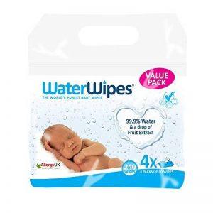 Lingettes bébé pour peaux sensibles WaterWipes, 4 Paquets de 60 (240 Lingettes) de la marque WaterWipes image 0 produit
