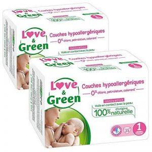 Love & Green - Couches Bébé Hypoallergéniques 0% - Taille 1 (2-5 kg) - Lot de 2 x 23 couches (46 couches) de la marque Love-Green image 0 produit