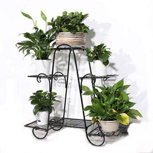 Malayas Étagère à Fleurs en Fer Porte Pots de Plante Fleurs avec 6 Tablettes Escalier Présentoire de Jardin 77 × 26 × 72 cm de la marque Malayas image 0 produit