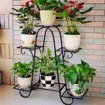 Malayas Étagère à Fleurs en Fer Porte Pots de Plante Fleurs avec 6 Tablettes Escalier Présentoire de Jardin 77 × 26 × 72 cm de la marque Malayas image 1 produit
