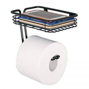 mDesign porte papier de toilette avec une surface de rangement – distributeur de papier WC pratique – un dérouleur de papier toilette avec rangements pour lingettes humides, etc. – noir mat de la marque MetroDecor image 0 produit