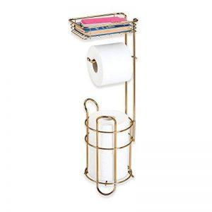 mDesign porte papier toilette sur pied – dérouleur papier wc avec une surface de rangement pour les lingettes – distributeur papier toilette en métal – couleur laiton de la marque MetroDecor image 0 produit