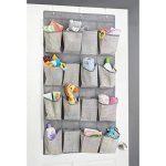 mDesign rangement enfant en tissu pour l'armoire de bébé – meuble suspendu – étagère suspendue pour peluches, jouets, lingettes – 16 poches – en PVC – gris de la marque MetroDecor image 1 produit