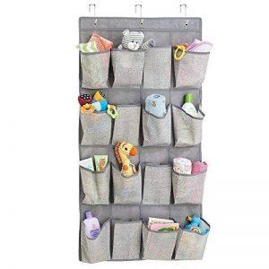 mDesign rangement enfant en tissu pour l'armoire de bébé – meuble suspendu – étagère suspendue pour peluches, jouets, lingettes – 16 poches – en PVC – gris de la marque MetroDecor image 0 produit