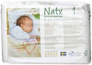 Naty by Nature Babycare Couches Écologiques pour Bébé Taille 1 Nouveau-Né/2-5 kg - Lot de 2 de la marque Naty-by-Nature-BabyCare image 0 produit