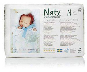 Naty Eco Couche Ecologique pour Bébé Nouveau Né/Prématuré Blanc Taille 0 4,5 kg Lot de 4 de la marque Naty-by-Nature-BabyCare image 0 produit