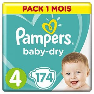 Pampers - Baby Dry - Couches Taille 4 (9-14/8-16 kg) - Pack 1 Mois (x174 couches) de la marque Pampers image 0 produit