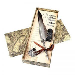 Plume d'oie Aolvo - Stylo à plume avec pot d'encre, support et pointe - Calligraphie antique - Stylo gravé - Rouge, Gradient Black, Taille unique de la marque Aolvo image 0 produit