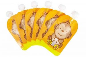 Pochette de bébé réutilisable Remplissez l'ouverture inférieure de Squeeze pour un nettoyage facile. 6 x 150 ml Gourdes Réutilisables Parfait pour le sevrage, le voyage, les fruits en purée, les aliments biologiques et maison, les yaourts, les fruits puré image 0 produit