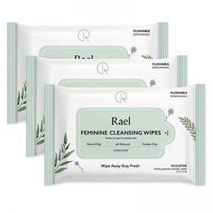 Rael Lingettes féminines avec des ingrédients naturels, utilisation de jour ou de nuit, jetable, pH équilibré, doux et sûr sur la peau. (3 Packs) de la marque image 0 produit