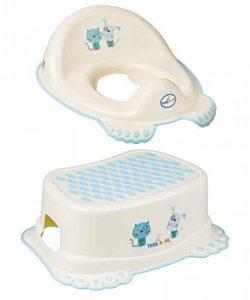 Réducteur de toilette anti-dérapant + marchepied pour évier WC enfant bébé Tega Baby avec thème Chien et Chat couleur jaune de la marque Tega Baby image 0 produit