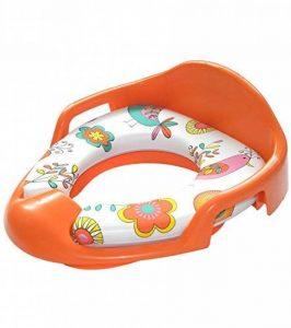 Réducteur de toilette pour enfants et bébés orange | assise rembourrée | poignées latérales | avec protection contre les éclaboussures | facile à nettoyer de la marque Sanilo image 0 produit