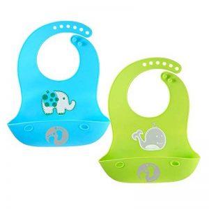 Set de deux bavoirs avec récupérateur, silicone souple imperméable, pour bébés et enfants en bas âge de la marque Chuckle image 0 produit