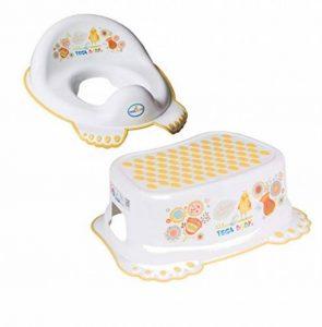 Tega Baby Folk Summertime Unisexe Toddler Réducteur de toilette avec poignée antidérapante Pieds et poignée de transport facile fourni avec Marchepied Blanc de la marque Tega Baby image 0 produit