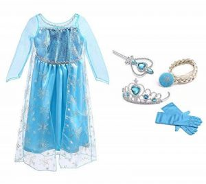 URAQT Reine des Neiges Elsa Costume et Accessoires Gants Couronne Baguette Tresse Robe Longue deguisement Pour Fille de la marque URAQT image 0 produit