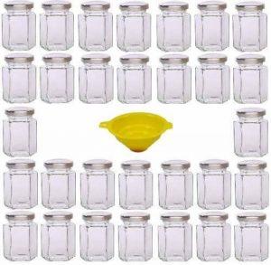 Viva Haushaltswaren Lot DE 30 Petits Pots à Confiture avec couvercles argentés 110 ML pour la Confiture, l'huile, Le sel, épices, etc, avec Entonnoir Jaune avec système de Blocage de la marque Viva-Haushaltswaren image 0 produit